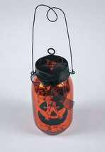 HALLOWEEN JACK-O'-LANTERN PUMPKIN ORANGE GLASS JAR CANDLE HOLDER TEALIGH... - $10.88