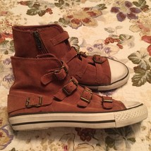 Ash Virgin Camel Suede Leather Buckle Sneaker Women Size 37 US SIZE 7 NE... - $127.71