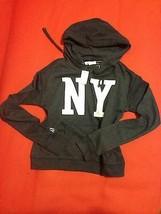 New Aeropostale Women Charcoal Gray Graphic Logo Long Sleeve Pocket Hood... - $24.74