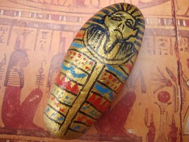 Egyptian sarcophagus pebble art - hand painted stone, paperweight, ornament - $15.31
