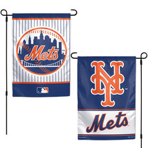 "NEW YORK METS TEAM GARDEN WALL FLAG BANNER 12"" X 18"" 2 SIDED MLB BASEBALL - $13.92"