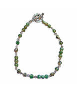 4mm Green Agate Beaded Sterling Silver Chain Toggle Bracelet - $39.99