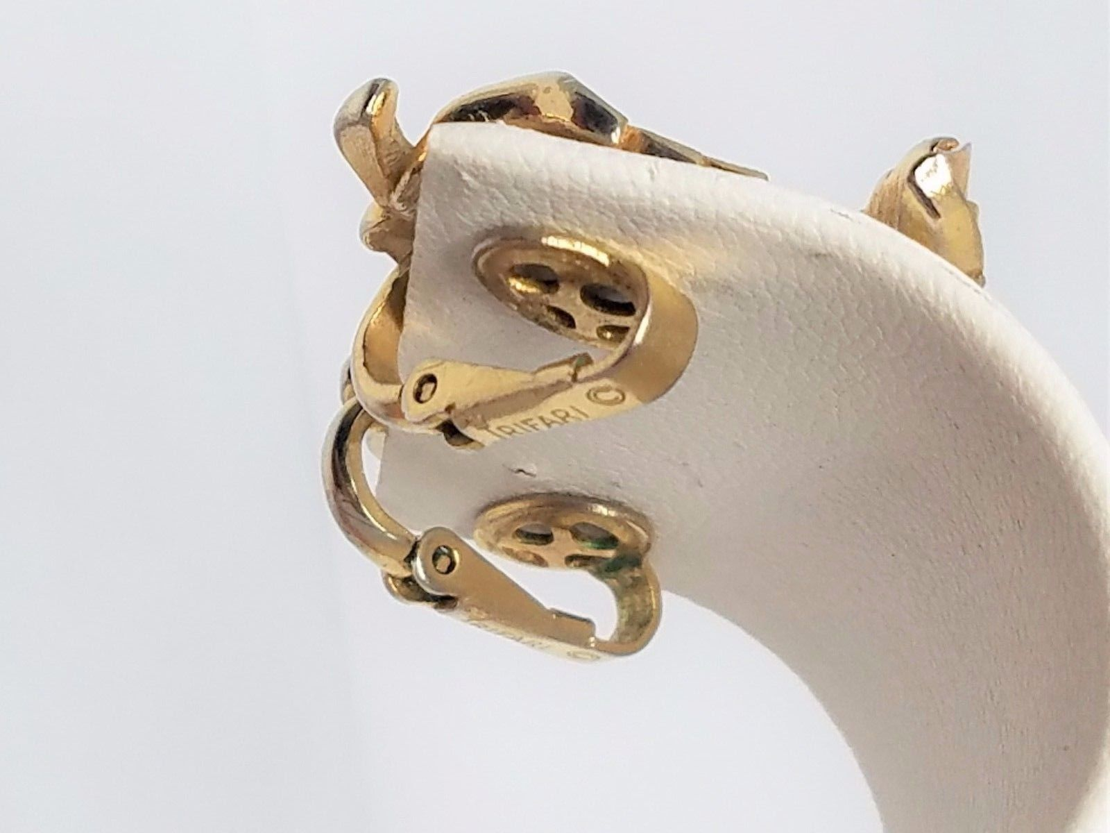 Figural Leaf Crown Trifari Clip On Earrings