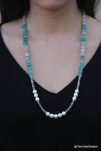 Long beaded necklace with fresh water pearls and Agate gemstones, Gemsto... - $64.80