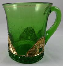 "Antique ""CANTON CENTENNIAL 1909""  GREEN PATTERN Glass Souvenir MUG     G31 - $9.89"