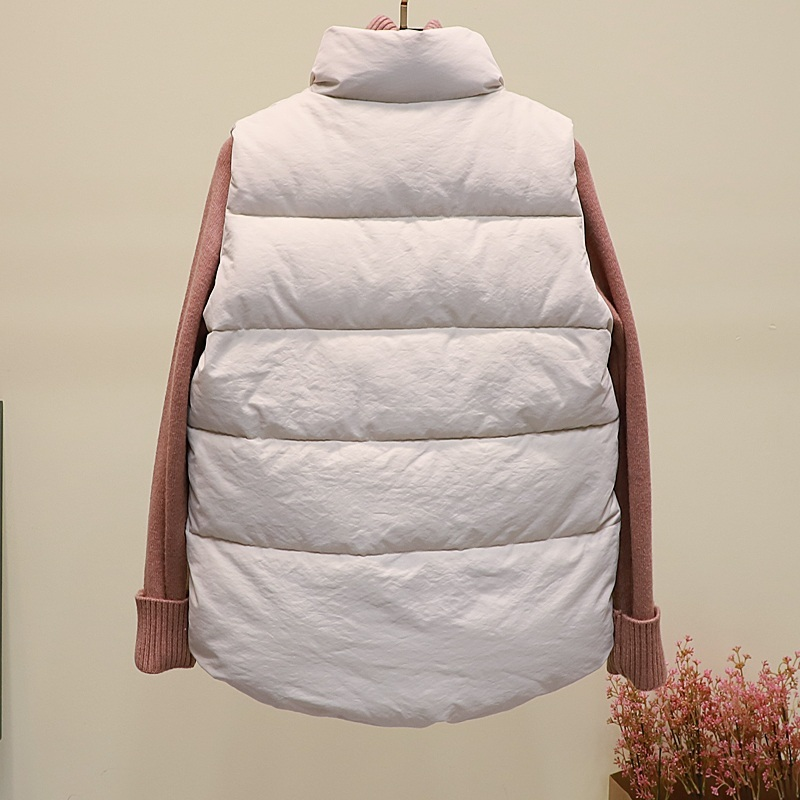 New black warm padded winter vest with pockets stand collar sleeveless waistcoat image 11