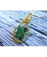 Mermaid Tear necklace: Authentic Estonian sea glass with golden wirework - $36.00