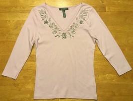 Ralph Lauren Women's Purple 3/4 Sleeve V-Neck Blouse Shirt Bead Detail S... - $14.01