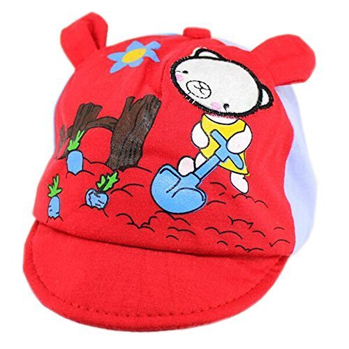 Red Bear Baby Beret Toddler Sun Protection Hat Infant Floppy Cap (0-2Y)