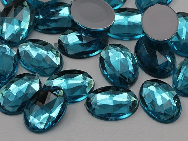 14x10mm Blue Aqua .QR Flat Back Oval Acrylic Gemstones 45 PCS