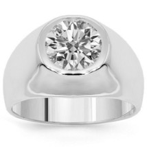 2.15 CT G-H Enhanced Diamond Solitaire Bezel Mens Man Engagement Ring 14... - $10,319.14