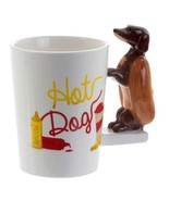 Hot Dog Mug with 3D Handle Dog Coffee Milk Tea Cup Dachshund Sausage Pet... - $31.45