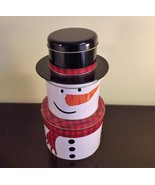 Tier of Tins SNOWMAN STACKING BOXES Three Compartment Christmas Gift Tin - $17.82