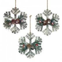 Rustic Wooden  Snowflake Ornament Trio Christmas - $14.14