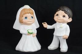 Vtg 1973 Wedding Centerpiece Couple Bride Groom Ceramic Yellow Flowers RARE - $57.57
