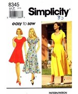 Simplicity 8345 Sewing Pattern Misses Flared Princess Dress Size 12 - 16... - $8.46