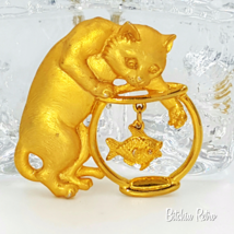 Vintage JJ Jonette Cat Digging in the Fish Bowl Brooch   Whimsical and F... - $18.00