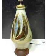 Mid Century Stoneware Pottery Lamp Teak Wood Base Earth Tones Hand Decor... - $146.52