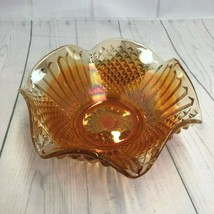 "Vtg Fenton Marigold Carnival Glass Diamond & File Scalloped Bowl 7.75"" - $30.84"
