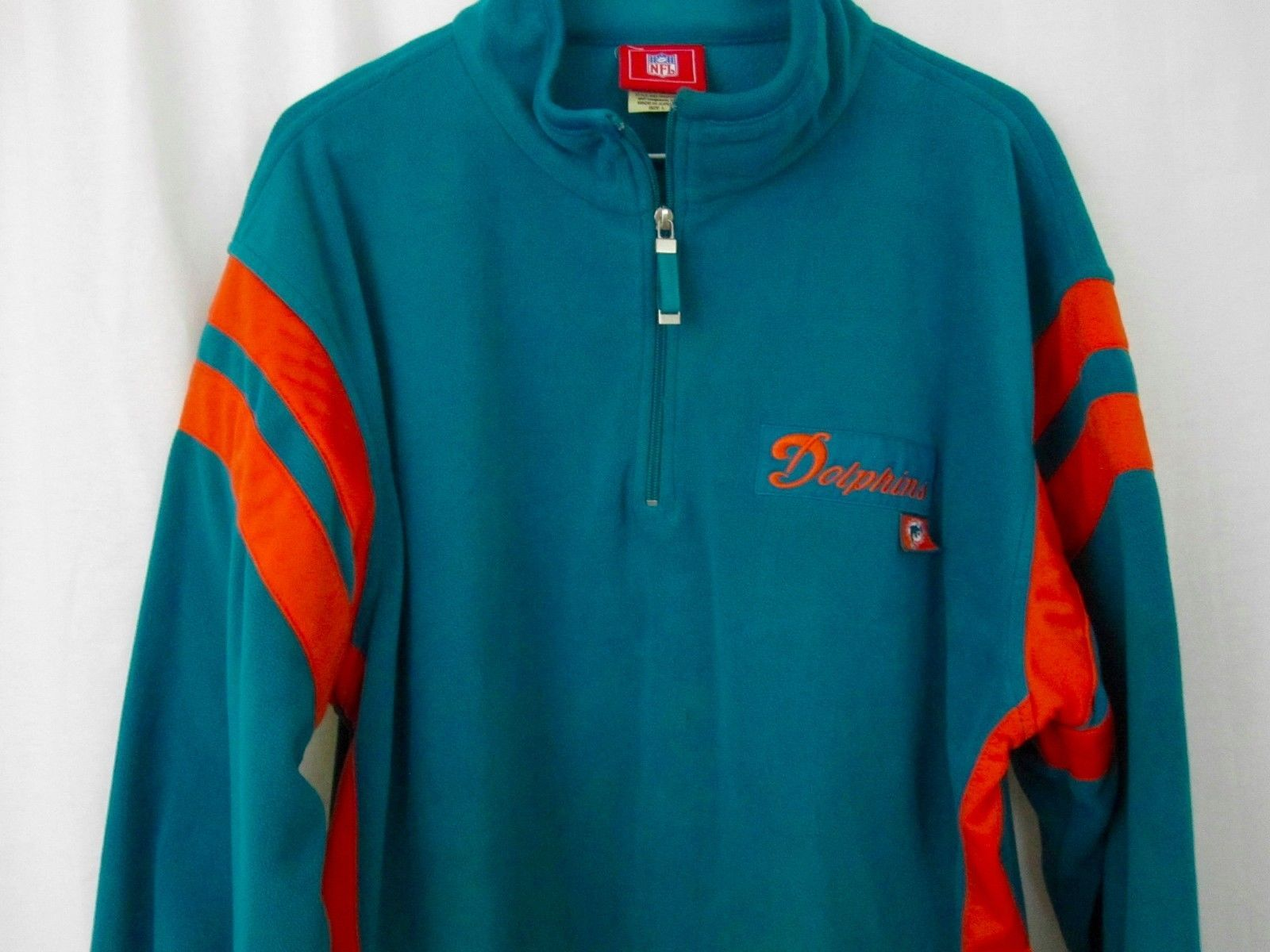 2ae9add41a2 Miami Dolphins Fleece Sweater Large NFL Half Zip Green Orange Mens L  Sweatshirt