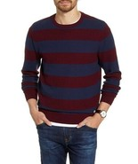 1901 Stripe Crewneck Sweater Men's XL Navy Iris Marled Stripe Pullover - $17.82