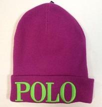 Polo Ralph Lauren Signature Mulberry Wool Blend Cuff Knit Beanie Cap Wom... - $59.39