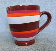 2007 STARBUCKS 21 FL. OZ. COFFEE MUG STRIPED BROWN BLUE ORANGE PURPLE - $18.95