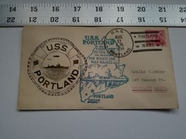 Home Treasure Postal Cover Envelope 1934 Postmark USS Portland ME Ship Buoy Blue - $9.49