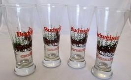 Set Of 4 Vintage 1989 Budweiser Clydesdales Pilsner Glasses Winter Scene... - $24.74