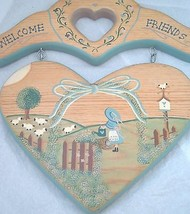welcome Friends sheep wood Sign Plaque Country Kitsch primitive wall han... - $11.85
