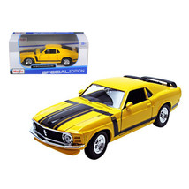1970 Ford Mustang Boss 302 Yellow 1/24 Diecast Model Car by Maisto 31943y - $23.99