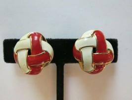 "Monet Clip Earrings Luxury Red Enamel Gold Tone 1"" High Comfort Basket Weave - $15.83"