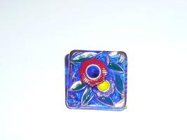 Wonderful Blue Button w/ Flowers Square Czech Glass Shank Button 22mm - ... - $6.92