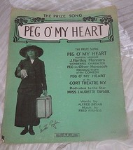 VINTAGE SHEET MUSIC * PEG OF MY  HEART 1913* ORIGINAL NOT COPY - $7.66