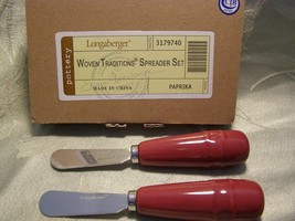 Longaberger Paprika Red Pottery Set of Two New In Box Woven Traditions - $15.79