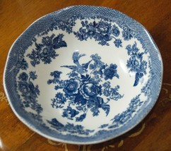 "JOHNSON BROS SOUP BOWL BLUE WHITE FLOWERS BIRD ENGLAND PORCELAIN  6 3/8""... - $19.99"