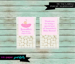 Baby Girl Umbrella Baby Shower Party Candy Mints Mint Labels Favor Favor... - $3.50