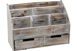Vintage Rustic Wooden Office Desk Organizer & Mail Rack for Desktop, Tab... - $55.49