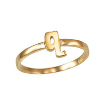 Yellow Gold Initial Letter Q Stackable Ring - $79.99