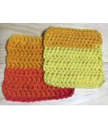 Sunset Striped Handmade Crochet Dish Cloth Set x2 Pink Orange Yellow - $5.00