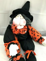 Vintage Witch Doll Shelf Sitter Halloween Decor Orange Black - $60.00