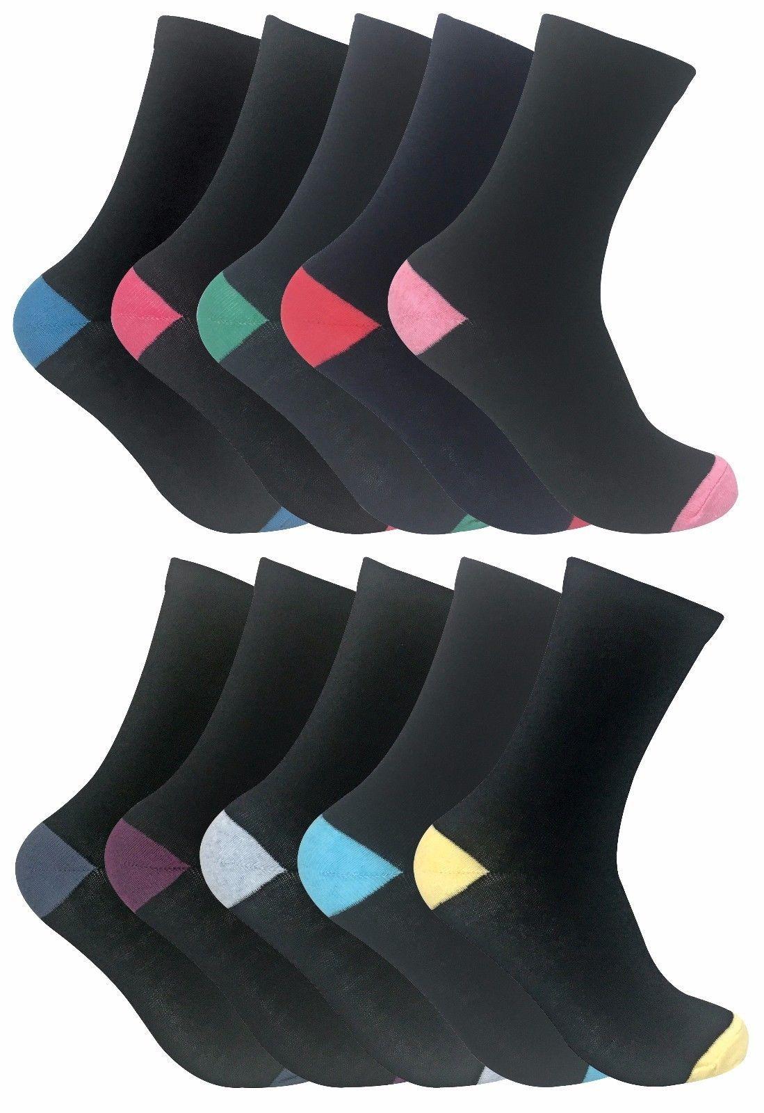Sock Snob - 5 Paires Femme Coton Noires Fantaisie Doux Colorés Chaussettes