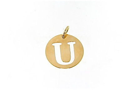 18K YELLOW GOLD LUSTER ROUND MEDAL WITH LETTER U MADE IN ITALY DIAMETER 0.5 IN