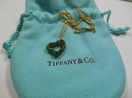 Tiffany & Co 18K Gold Peretti Hand Carved Green Jade Open Heart Pendant ... - $898.45
