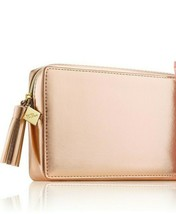 Estee Lauder PLEASURES Rose Gold Makeup Train Case Bag Clutch Zip Leathe... - $24.50