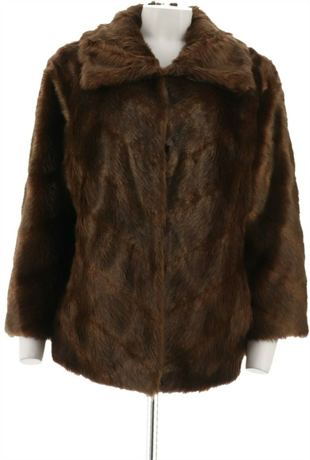 Primary image for Dennis Basso Platinum Chevron Cut Faux Fur Shrug Jacket Chestnut 1X NEW A270680