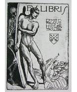 NUDE EX LIBRIS Naked Man Devil Fights Skeleton Death - 1922 Lichtdruck P... - $16.20