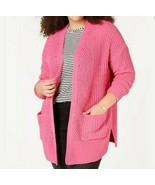 Style & Co. Womens Pink Chenille Cardigan Sweater Top Plus 1X  - $16.82