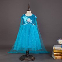 Newest  Elsa Princess  Dress with Cape dress Sequin Sparkle Ice queen Ca... - £15.66 GBP
