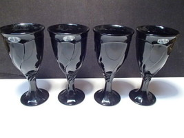 4 Noritake Black Sweet Swirl Wine Stems ~~ w tags - $24.95